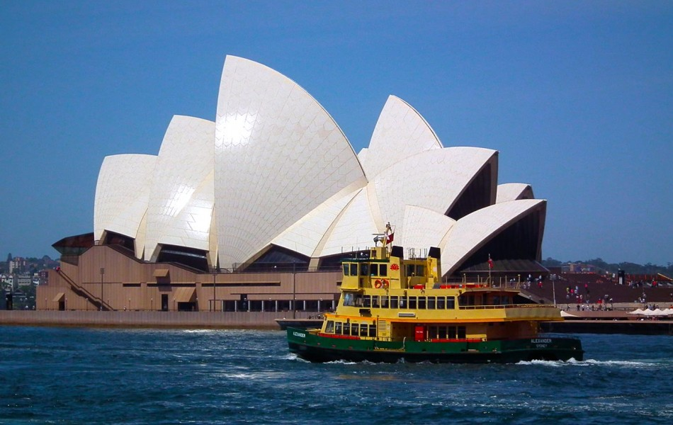 Opera house and tug