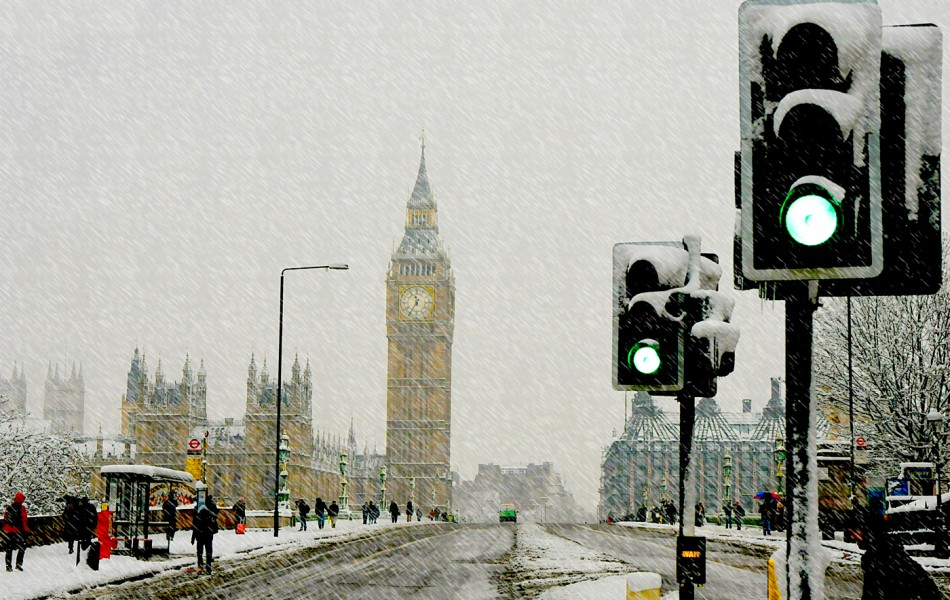 Westminster bridge snow